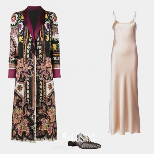 Etro reversible robe coat, ,340, farfetch.com; Voz liquid slip dress, 5, farfetch.com; Dorateymur Petrol mules, ,030, farfetch.com